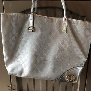 Silver Gucci tote